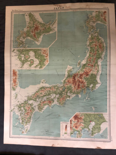 Map of Japan from the 1920 Times Survey Atlas; inset maps of Tokyo and Nagasaki