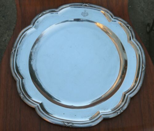 """Heavy Antique Austria Hungary 800 Silver 14"""" Tray Plate ~967 Grams"""