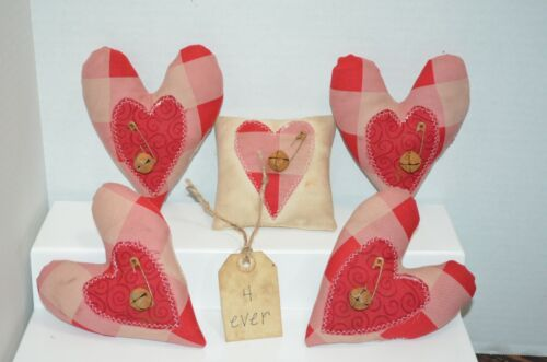 5 Farmhouse Primitive Folk Art HEART Fillers Ornies Tucks Valentines Country