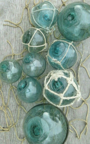 Japanese GLASS Fishing FLOATS (9) Each w/Maker's Marks Mixed Sizes +Net Antiques