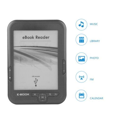 6in E-ink Ink Screen Micro USB E-Book Reader Touch Memory E-Ink w/Bule Cover NIU