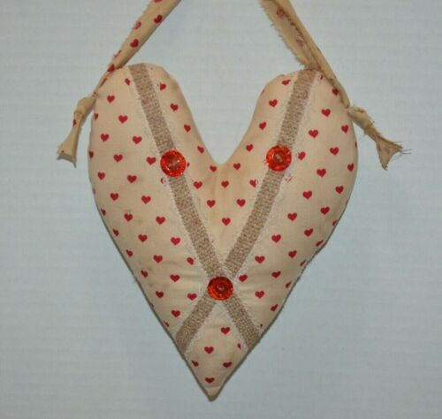 "Farmhouse Primitive Folk Art HANGING 8.5"" HEART Ornie Love Valentines Country"