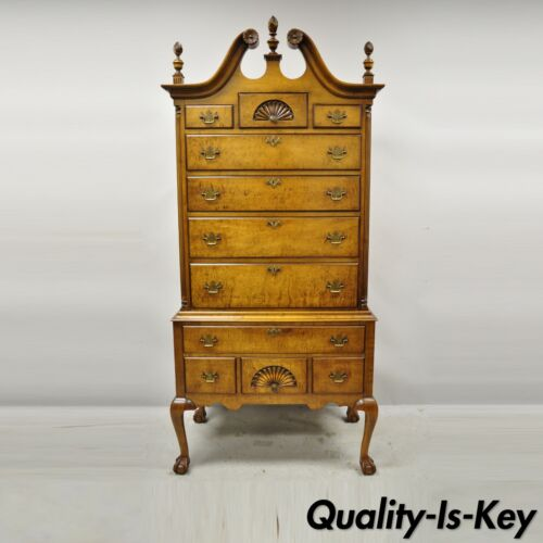 R.H. Macy & Co Birdseye Maple Chippendale Ball and Claw Highboy Armoire Dresser