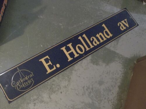 """Vintage E HOLLAND AV Cathedral District Street Sign 54"""" X 9"""" GOLD on NAVY Ground"""