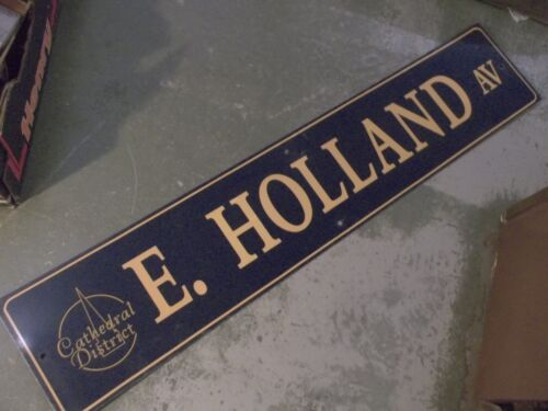 """Vintage E HOLLAND AV Cathedral District Street Sign 60"""" X 12"""" GOLD/NAVY Ground"""