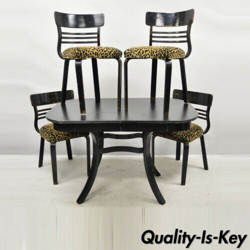 Austrian Thonet Bentwood Black Distressed Dining Set Table 4 Chairs - 5 Pieces