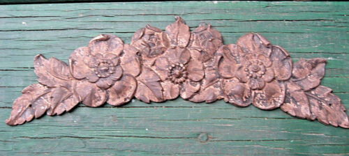 1880 BRONZE FURNITURE FRONTISPIECE PERIWINKLE FLOWERS BUDS FLORAL DESIGN PATINA