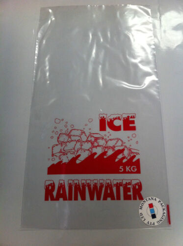 5kg Ice Bags - L600mm x W330mm Printed ICE Party Food Packaging X 100