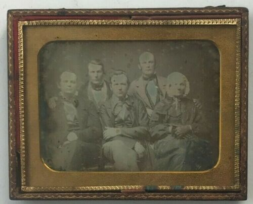 Four Men and an Old Lady in Bonnet 1/2 plate 1/2 cased 1850s Daguerreotype Photo