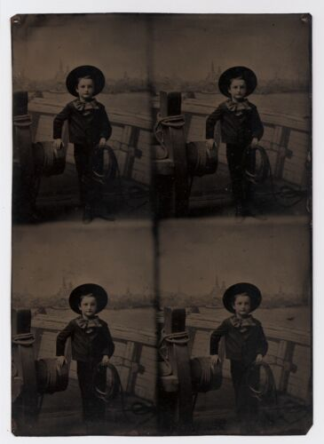 Four-Tube Large Multiple Tintype Photo of Sailor Boy Holding Rope 1880s Backdrop