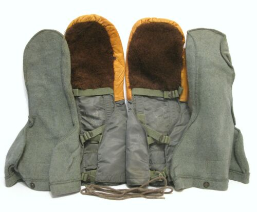 USAF N-4B Air Crew Alpaca Mittens & Wool Liners 1950's Large Excellent ConditionOriginal Period Items - 13982