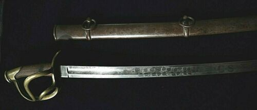 CIVIL WAR  M 1840 CAVALRY SWORD WITH CONFEDERATE  ETCHING ON BLADE MADE BY K&CEdged Weapons - 36037