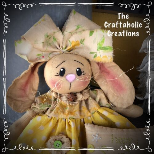 * primitive raggedy BUNNY girl doll RABBIT polka dot HOPPY SPRING pillow FLORAL