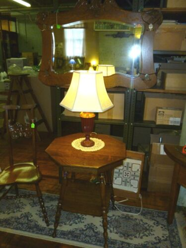 """antique Oak Table Lamp plant stand end side refinished quartersawn octagon 24"""""""