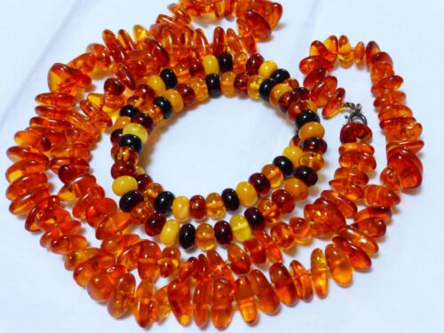 Vintage Amber Beaded Necklace and Bracelets, total of 57 grams