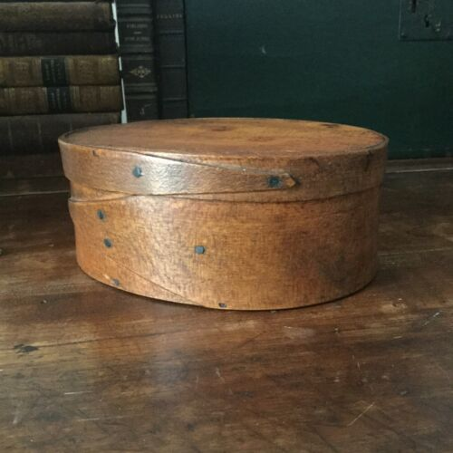 Mid 19th c. Antique Country Shaker Oval Pantry Box, Opposite Fingers, AAFA