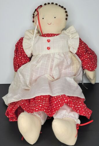 Primitive Folk Art Doll In a Read Hearts Dress with Heart Red Buttons Handmade