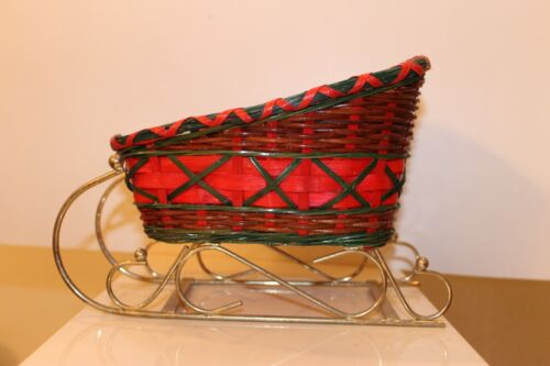Vintage Red Green Wicker Rattan Woven Christmas Sleigh Basket Holiday Decor