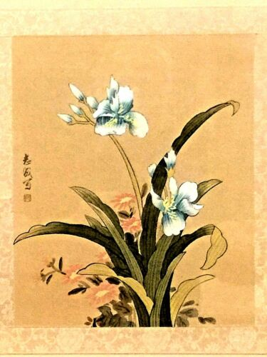 ANTIQUE CHINESE WATERCOLOR ON SILK FLOWERS PAINTING SIGNED FRAMED