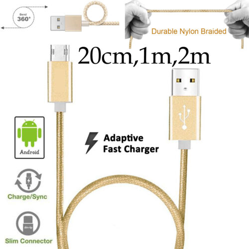 20cm 1m 2m Strong Nylon Data Sync Charger Micro USB Cable Cord for Android Phone