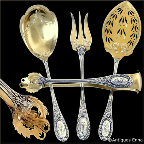Puiforcat French Sterling Silver 18k Gold Dessert Hors D'oeuvre Set 4 Pc, Box