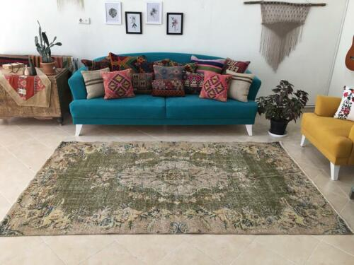Large Antique Persian Distressed Oushak Area Rug Handwoven 4.9x8.2ft, 149x250cm