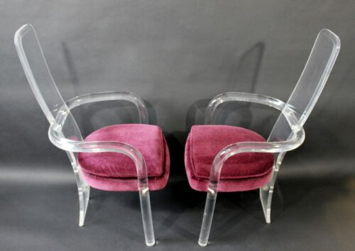 Mid Century Modern Hollis Jones for Hill Pair of Lucite Accent Armchairs 1970s