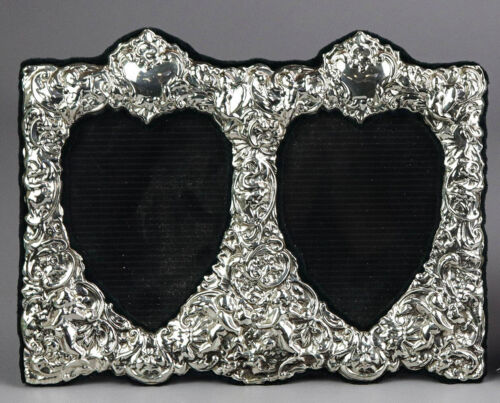 Ornate sterling silver double picture frame, hallmarked