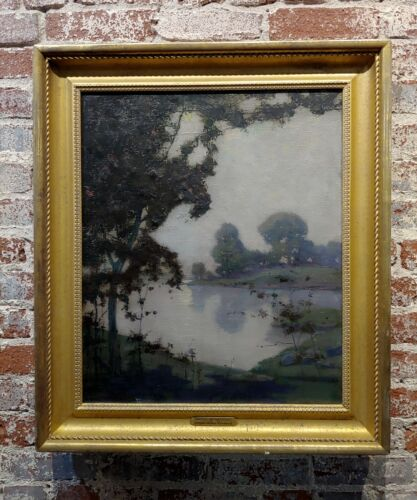 Edmund Wuerpel -Mystic Moonlight over the Lake-1920s American Tonalist Painting