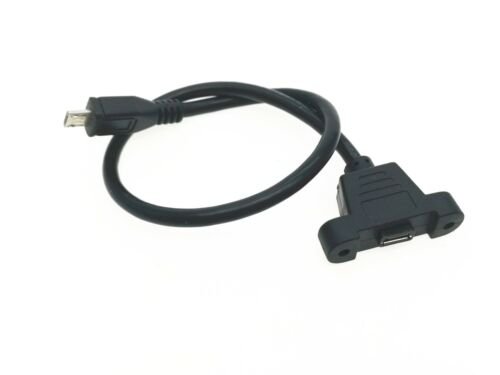 1x Micro USB Male to Female Extension  Power Charge Cable  With Panel Mount Hole