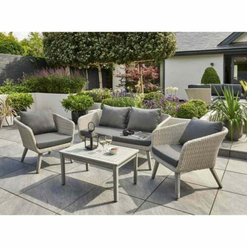 Chedworth Rattan Garden Furniture Sets Grey Wicker Weave With Arcacia Wood Legs <br/> Free Delivery!! Top Quality!! Cheapest On eBay!!
