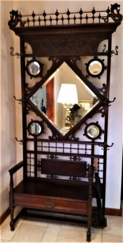 Antique HALL SEAT BENCH, Hat Rack w/ Mirrors, Carved Coat Stand