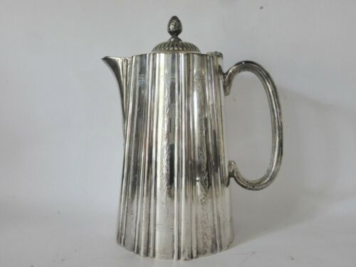 Antique English 4 Cup Coffee / Teapot, Hand Embossed, Sheffield, Silver Plated