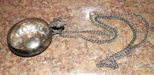 RARE 1800's Wine Tasting Cup - Silver Grape Handle - Silver Tastevin with Chain