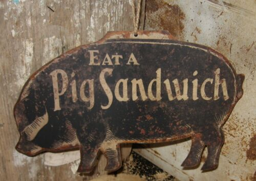 Black #PIG Wall SIGN/Message BOARD*Primitive Farmhouse Kitchen/Restaurant Decor