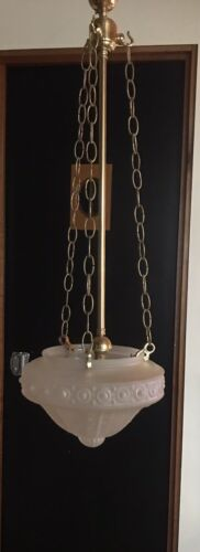 Art deco Frosted Glass Hanging Ceiling light Lampshade Pendant With Chains