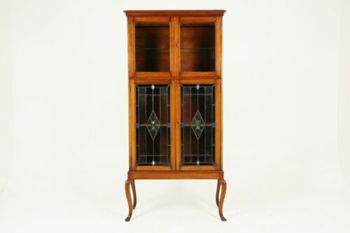 Antique Walnut Cocktail Cabinet, Stained Glass, Arts And Crafts, Scotland 1910