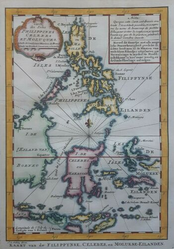 Philippines Filipinas Celebes Borneo Moluccas East Indies Map BELLIN 1754