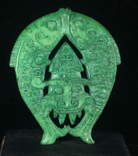Chinese old jade hand-carved pendant necklace statue fish beast 1834