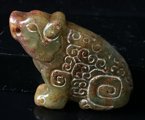Chinese old rare jade hand-carved pendant necklace statue pig 1855