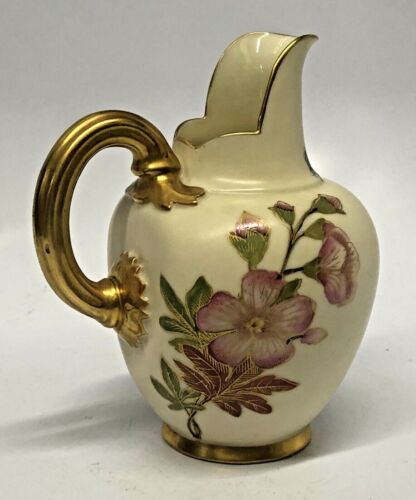 Royal Worcester Hand Painted Porcelain Antique Pitcher Dated 1889
