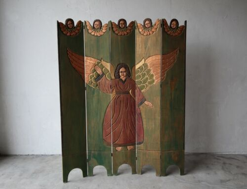 Antique Spanish Folk Art Five-Panel Screen Room Divider