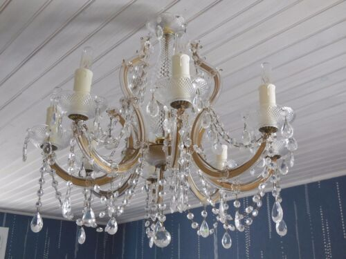 Fab. Vintage French CHANDELIER CRYSTAL GLASS  8 ARMS SCONCES - PRISMS & PENDANTS