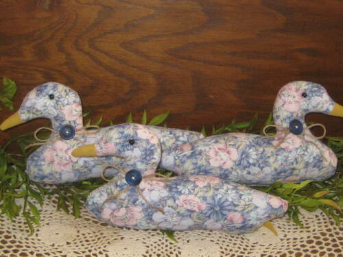 Country Home Decor 3 Blue Floral Fabric Ducks Bowl Fillers Wreath Accents