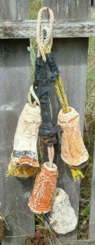 CRAB POT FLOATS Lot-5 White Orange Red Buoy Shrunk Withered Shabby 19.26A