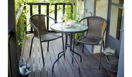 Tasmania Rattan Effect Patio/Balcony Set - Brown Bistro Table & 2 Chairs Set <br/> Fast, Free Delivery From Trusted Ebay Power Seller!!!