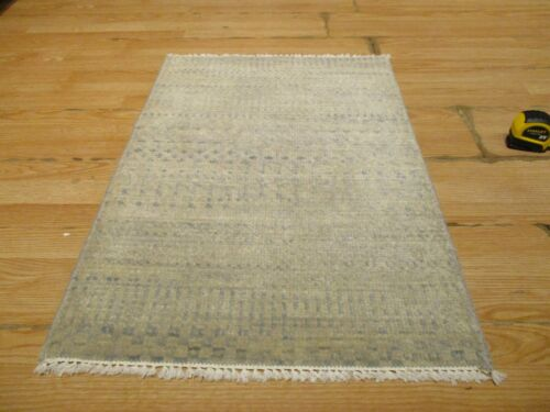 2x3 MODERN AGRA ABC COLLECTION VEGETABLE DYE HANDMADE-KNOTTED WOOL RUG #20