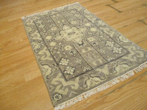 2x3 MODERN AGRA ABC COLLECTION VEGETABLE DYE HANDMADE-KNOTED WOOL RUG #37
