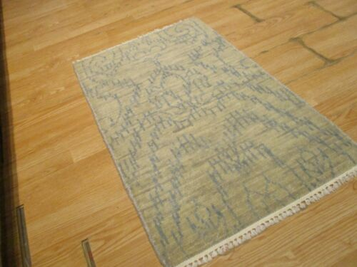 2x3 Modern Agra ABC Collection Vegetable Dye Handmade-knotted Wool Rug #38