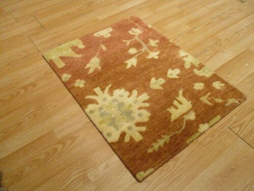 2x3 Modern Agra ABC Collection Vegetable Dye Handmade-knotted Wool Rug #25